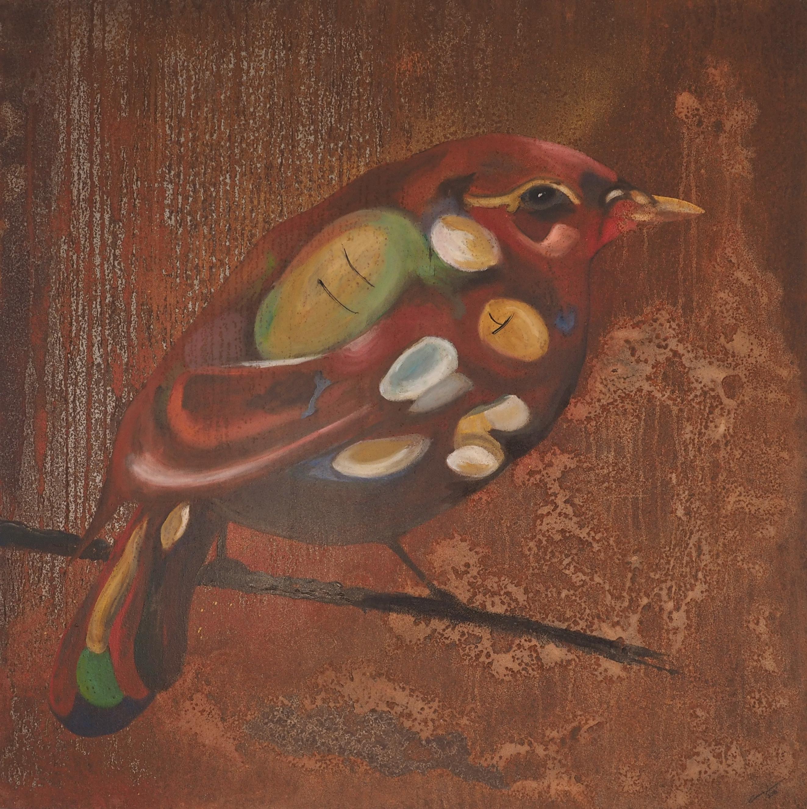 Dalasparven, 100x100cm, målad med akryl och sprayfärg på rostad plåt